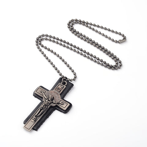Cross on Leather Ball Chain Necklace - Neckwear - Rebelroad.co.za