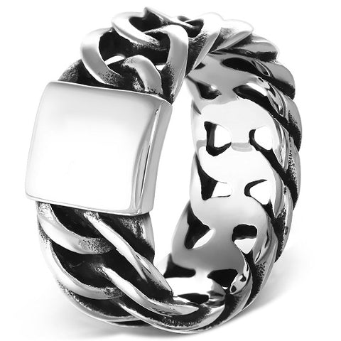 Cuban Curb Link Biker Ring - Rings - Rebelroad.co.za