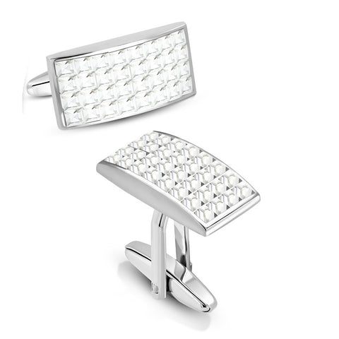 Cubic Zirconia Stones Rectangle Cufflinks - Cuff Links - Rebelroad.co.za