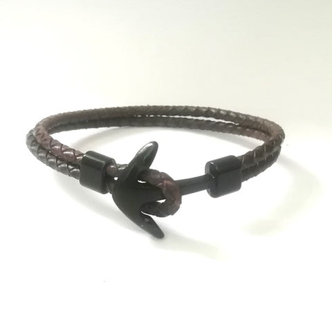 Dark Brown Braided Leather Anchor Bracelet