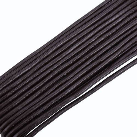 Dark Brown Round Cowhide Leather Cord -3mm