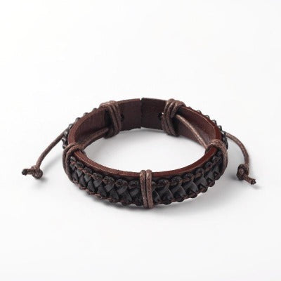 Dark Brown Intertwined Braided Leather Cord Bracelet