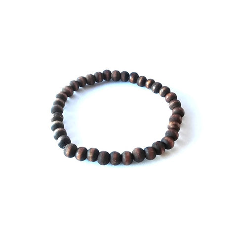 Dark Brown Wood Bead Stretch Bracelet