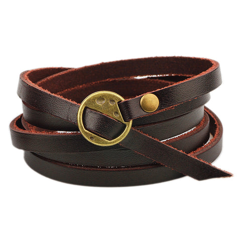 Dark Brown Plain Wrap Leather Bracelet - Bracelets - Rebelroad.co.za
