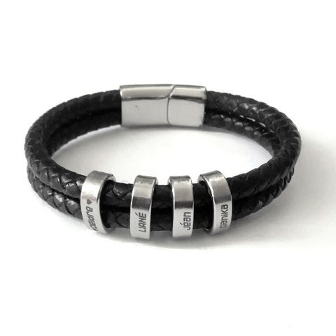 Name Engravable Black Double Round Cord Leather Bracelet