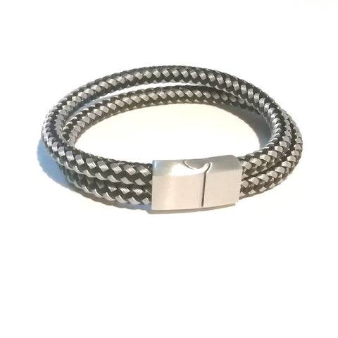 Double Cord Braided Leather & Steel Mesh Bracelet - Bracelets - Rebelroad.co.za