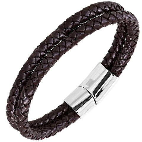 Brown Braided Double Strand Leather Bracelet - Bracelets - Rebelroad.co.za