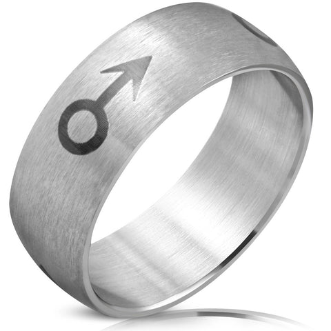 Stainless Steel Matte Finished 2-Tone Male Gender Symbol Half-Round Band Ring - Rings - Rebelroad.co.za