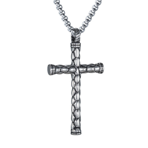 Etched Cross Pendant - Pendants - Rebelroad.co.za