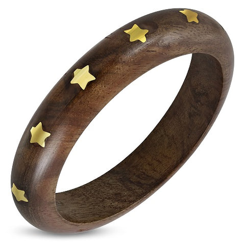 Ethnic Copper Star Stud Half Round Wood Bangle - Bangle - Rebelroad.co.za