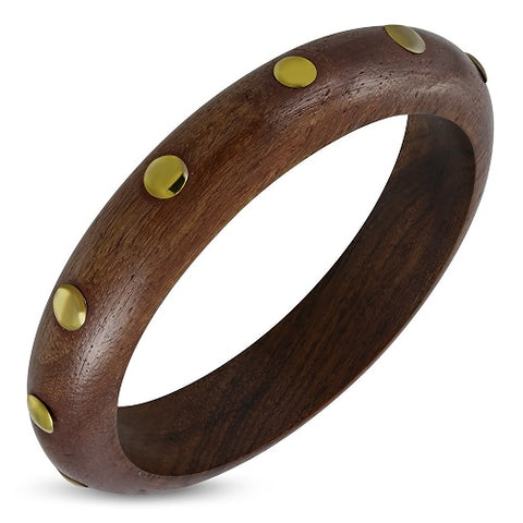 Ethnic Copper Stud Half Round Wood Bangle - Bangle - Rebelroad.co.za