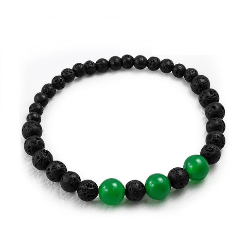 Jade Green and Black Volcanic Lava Beads Stretch Bracelet
