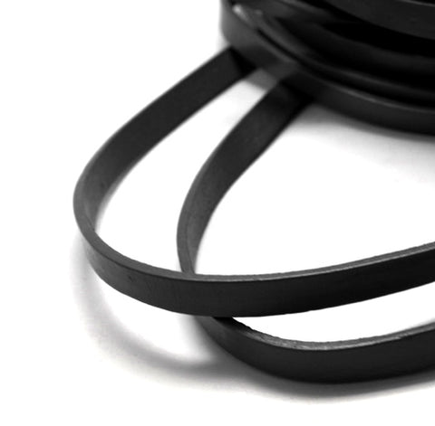 Flat Black Cowhide Leather Cord -10 * 2mm