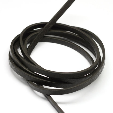 Flat Black Imitation Leather Cord -5mm wide for jewelery making from rebelroad.co.za