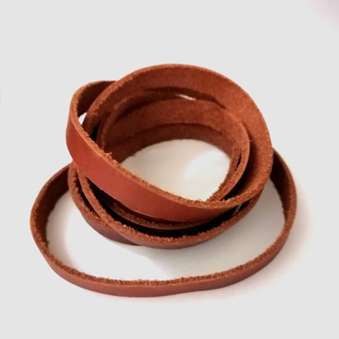 Flat Saddle Brown Cowhide Leather Cord -12mm wide by 3mm thick for bracelet making from rebelroad.co.za online in South Africa
