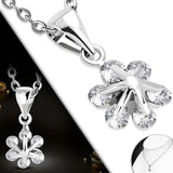 Flower CZ Pendant Chain Necklace - Neckwear - Rebelroad.co.za