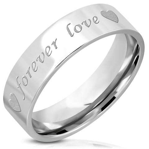 Forever Love Heart Comfort Fit Flat Band Ring - Rings - Rebelroad.co.za