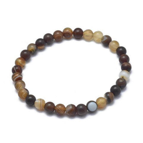 Frosted Striped Agate Bead Bracelet