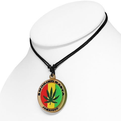 Round Ganja Marijuana Leaf Necklace - Neckwear - Rebelroad.co.za