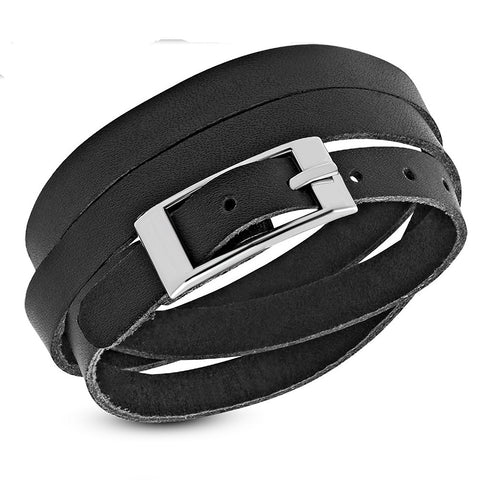 Genuine Black Leather Multi Wrap Belt Buckle Bracelet - Bracelets - Rebel Road