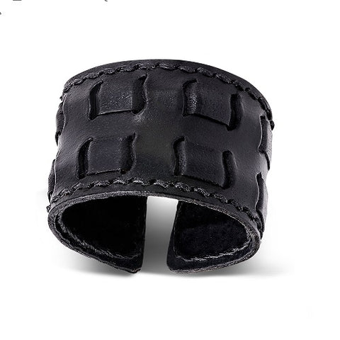 Genuine Black Leather Weave Cuff Wristband - Bracelets - Rebelroad.co.za