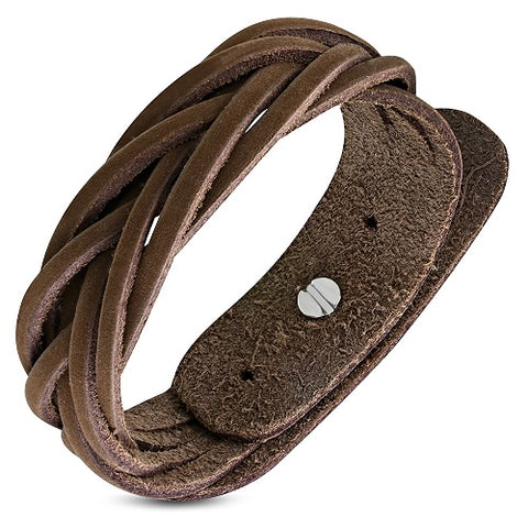 Braided Brown Soft Genuine Leather Bracelet - Bracelets - Rebelroad.co.za