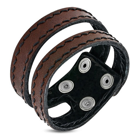 Genuine Brown Leather Double Strand Snap Bracelet - Bracelets - Rebelroad.co.za