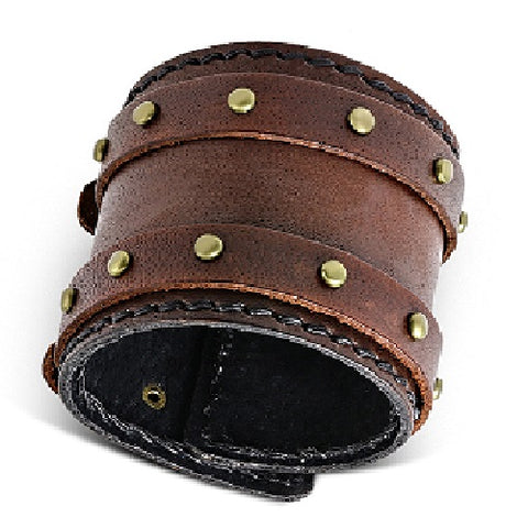 Genuine Brown Leather Round Stud Double Belt Buckle Bracelet - Bracelets - Rebelroad.co.za