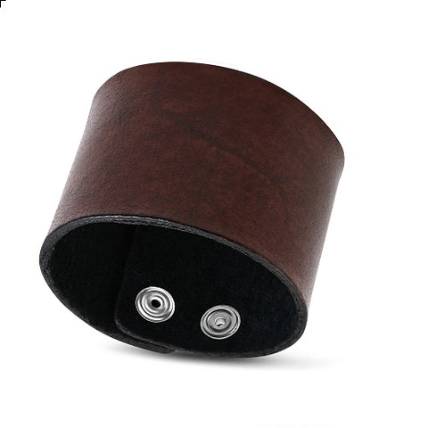 Genuine Wide Brown Leather Snap Wristband Bracelet - Rebelroad.co.za