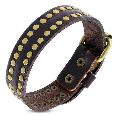 Genuine Brown Leather and Stud Belt Buckle Bracelet - Bracelets - Rebelroad.co.za