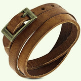 Genuine Light Brown Wrap Leather Bracelet - Bracelets - Rebel Road
