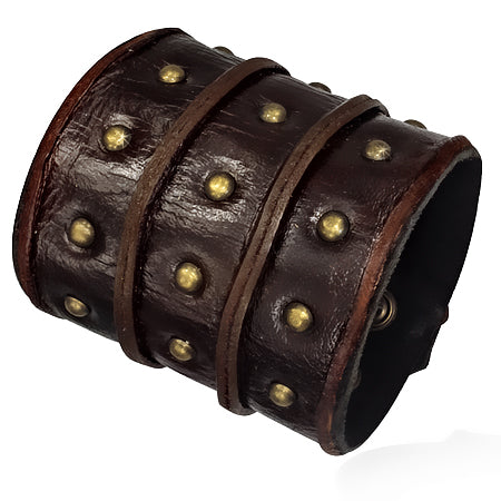 Genuine Wide Brown Studded Leather Wristband Bracelet - Bracelets - Rebel Road