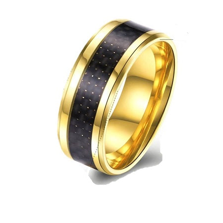 Gold & Black Titanium Wide Band Ring
