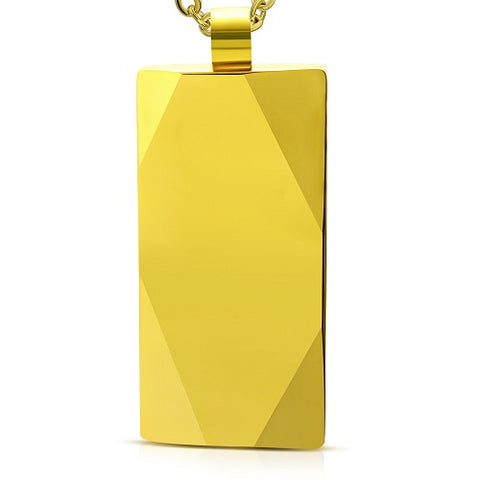 Gold Color Plated Tungsten Carbide Engravable Tag Charm Pendant - Pendants - Rebelroad.co.za