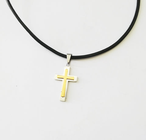 Gold On Silver Cross Necklace - Neckwear - Rebelroad.co.za