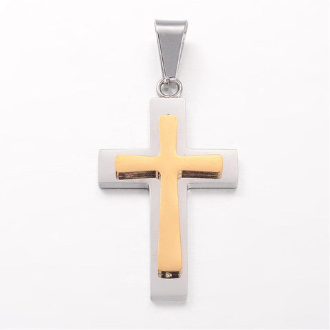 Gold On Silver Cross Pendant - Pendants - Rebelroad.co.za