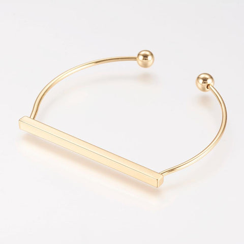 Gold Plated Bar Personalised Cuff Bangle - Bracelets - Rebel Road