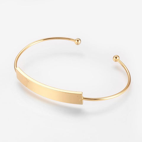 Gold Plated Oval Personalised Cuff Bangle - Bracelets - Rebel Road