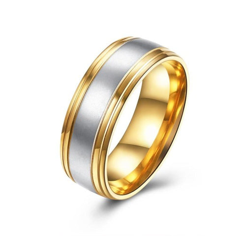 Gold & Silver Titanium Wide Band Ring