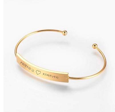 Golden Oval Engravable Cuff Bangle