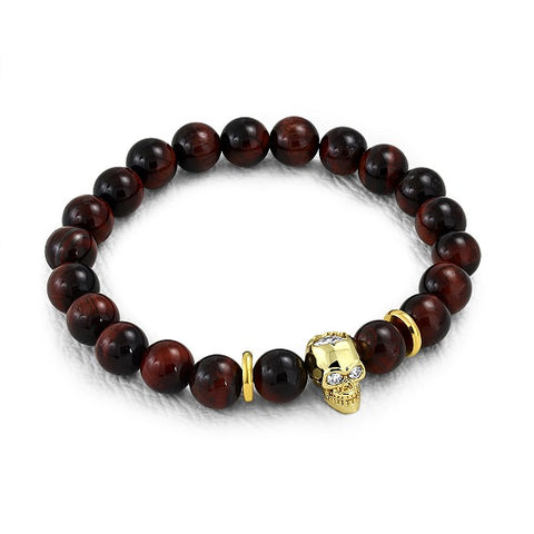 Golden Skull & Tiger Eyes Biker Stretch Bracelet