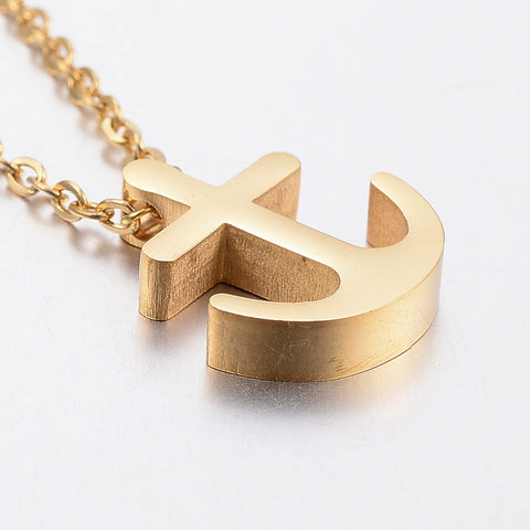 Tiny Golden Anchor Steel Necklace - Neckwear - Rebelroad.co.za