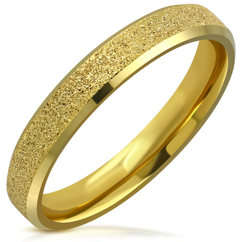 Golden Sandblasted Beveled Edge Comfort Fit Half-Round Band Ring - Rings - Rebelroad.co.za