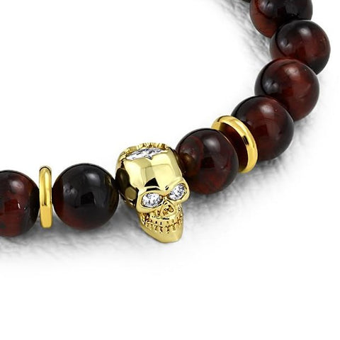 Golden Skull & Tiger Eyes Biker Stretch Bracelet - Bracelets - Rebelroad.co.za