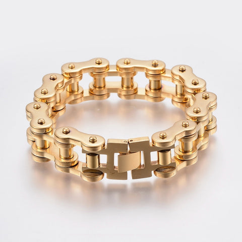 Golden Steel Motorcycle Chain Bracelet - Bracelets - Rebelroad.co.za
