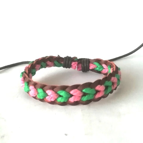 Green & Pink Leather Cotton Cord Bracelet