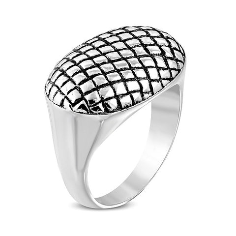 Grid Geometric Oval Biker Ring - Rings - Rebelroad.co.za