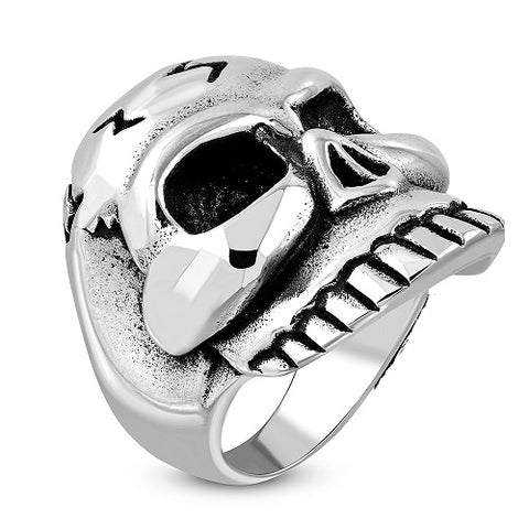 Grinning Skull Biker Ring - Rings - Rebelroad.co.za