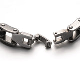 Gunmetal and Steel with Black Bicycle Chain ID Engraveable Bracelet - Bracelets - Rebel Road