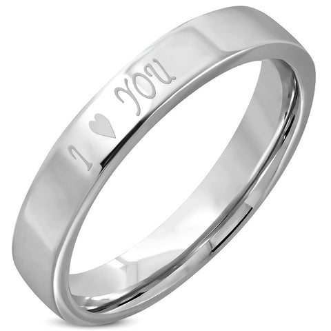 I Love You Comfort Fit Flat Band Ring - Rings - Rebelroad.co.za